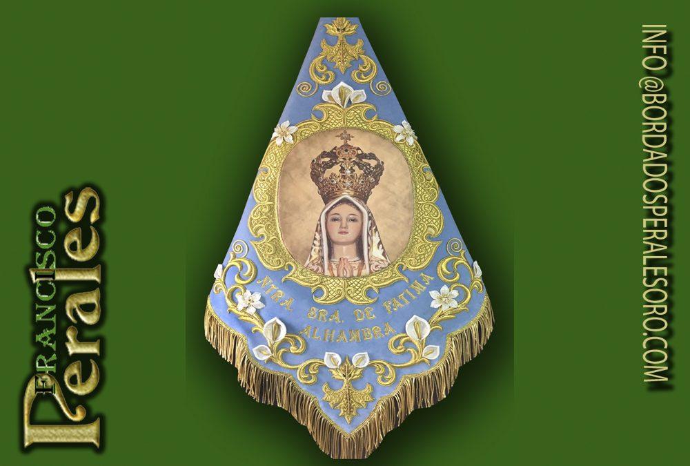Banderín bordado para la Virgen de Fátima de Alhambra, Ciudad Real