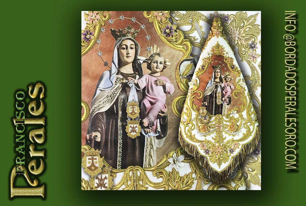 Banderín bordado de la Virgen del Carmen