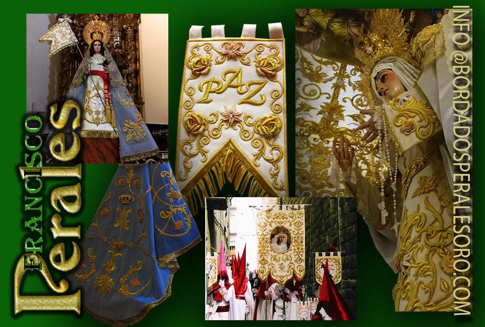 Bordados a mano en oro para La Virgen de la Paz en La Rioja.