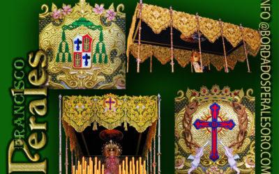 Palio de malla de oro bordado para la Hermandad de Nazarenos de Ntro. Padre Jesús Cautivo de Medinaceli, María Santísima de la Esperanza y Santo Sepulcro de Jesucristo de Ciempozuelos en Madrid.