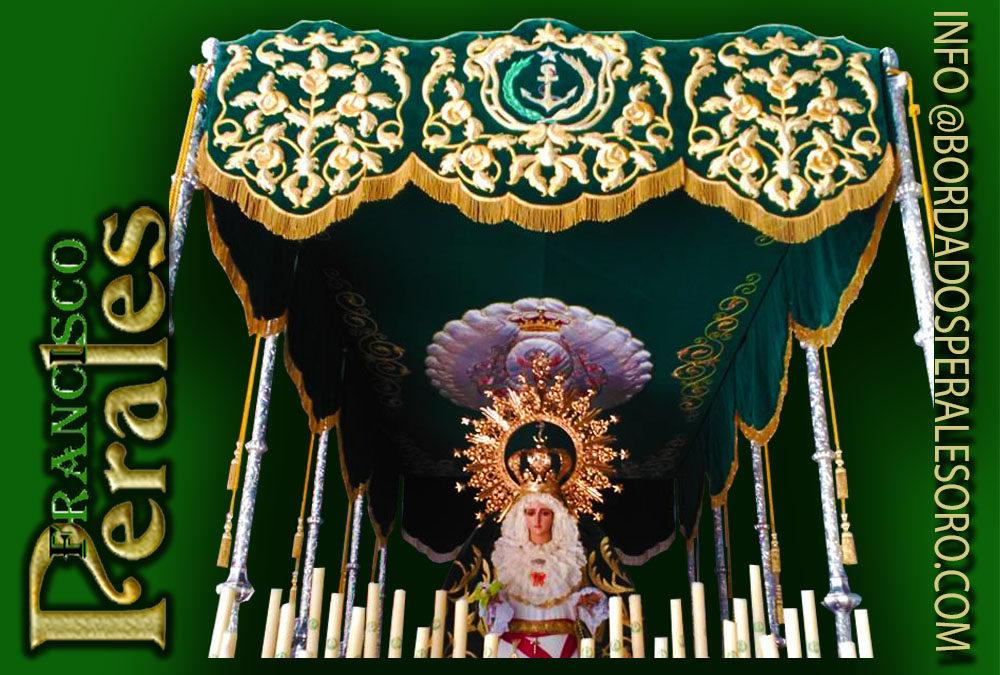 Palio bordado para la Hermandad de la Entrada triunfal de Jesús en Jerusalén y Ntra. Sra. De La Esperanza de Consuegra en la provincia de Toledo.