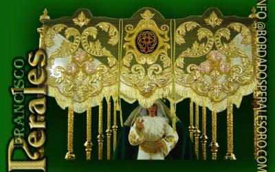 Palio de malla de oro bordado para la Virgen de la Esperanza de la Hermandad del Silencio de Argamasilla de Calatrava.