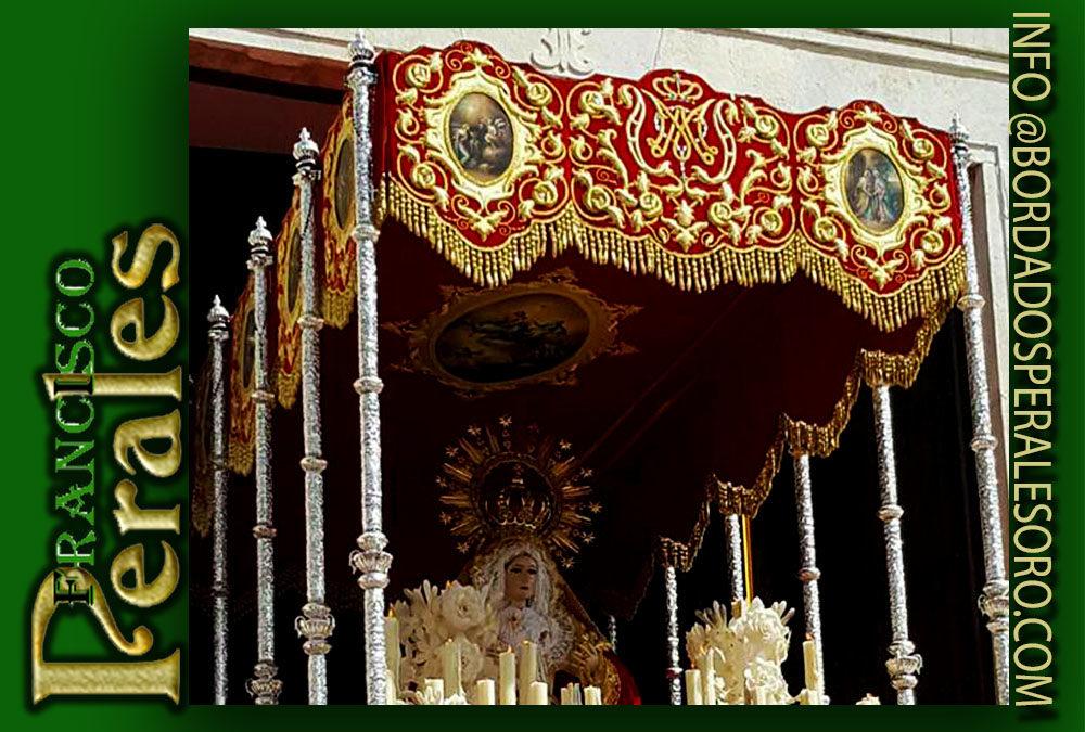 Palio bordado para la Hermandad de Nuestra Señora del Rosario de Baena.