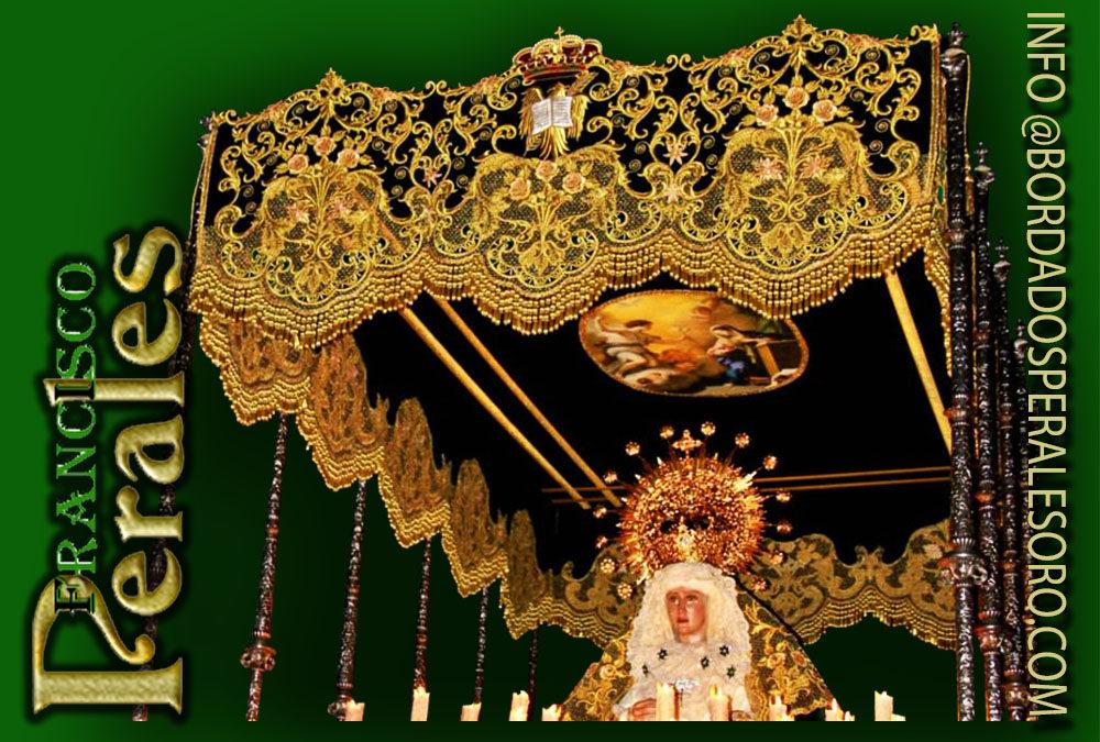 Palio bordado para la Hermandad de San Juan Evangelista y Nuestra Señora de la Esperanza Macarena de Callosa de Segura en Valencia.