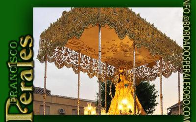 Palio de malla de oro bordado para Santísima Virgen De La Encarnación de Carrión de Calatrava en Ciudad Real.