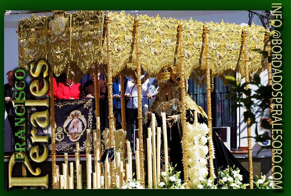 Palio de malla de oro bordado para Real Cofradía Ntra. Sra. de los Dolores y Stma. Virgen de la Soledad de Alcaudete en Jaén.