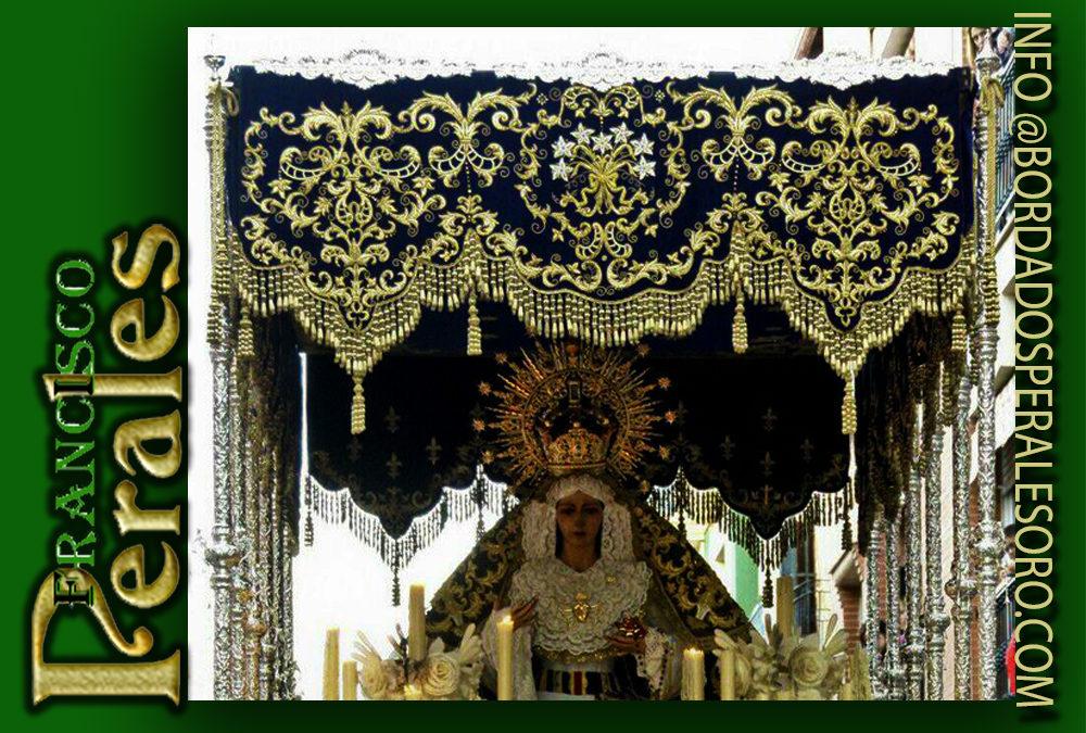 Palio bordado para la Virgen de los Dolores de la Hermandad de Ntro. Padre Jesús del Rescate de Linares.