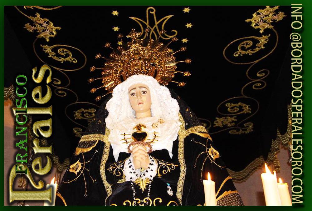 Techo de palio bordado para la Hermandad Ntra. Sra. De los Dolores de Malagón.
