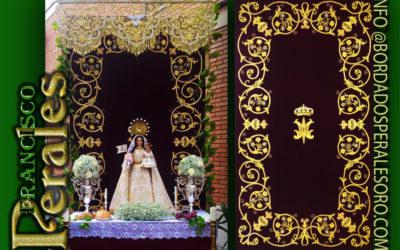 Techo de palio bordado para la Hermandad Ntra. Sra. del Rosario de Torrejón de Ardoz de Madrid.