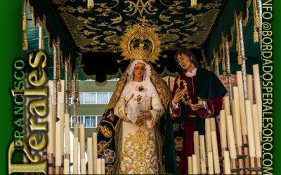 Techo de palio bordado para la Hermandad de María Santísima de Dulce Nombre y San Juan Evangelista de León.