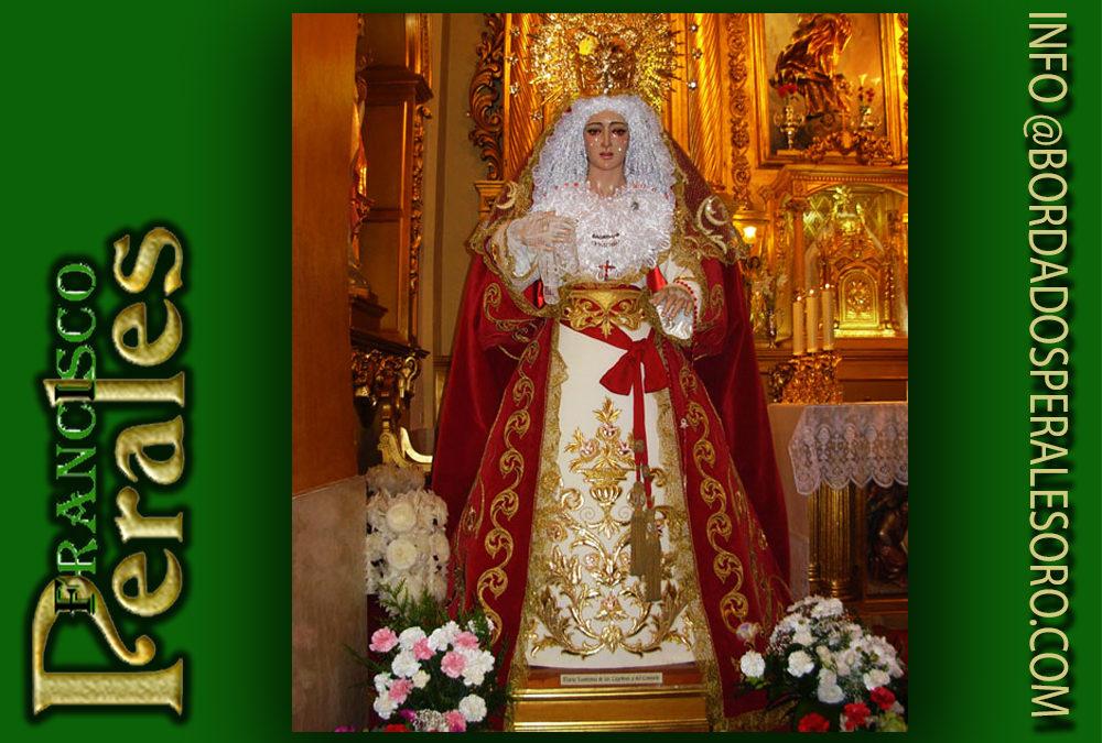 Manto bordado para la Hermandad del Santísimo Cristo Atado a la Columna y María Santísima de las Lágrimas y del Consuelo de Alcalá de Henares en Madrid.