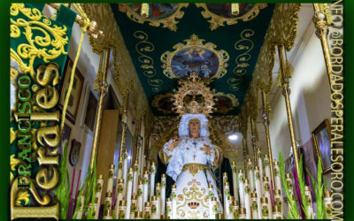 Techo de palio bordado para la Hermandad de la Oración en el Huerto y Nuestra Señora de la Esperanza de Alboraya en Valencia.