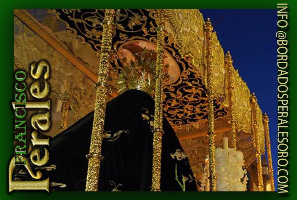Techo de palio bordado para la Real Cofradía Ntra. Sra. de los Dolores y Stma. Virgen de la Soledad de Alcaudete.