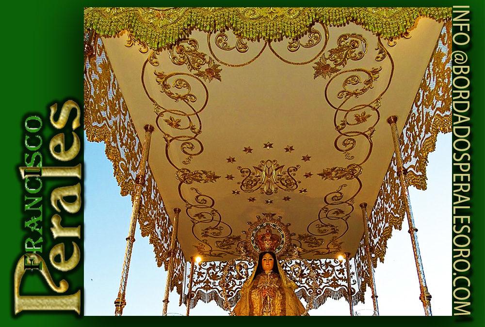 Techo de palio bordado para Santísima Virgen De La Encarnación de Carrión de Calatrava en Ciudad Real.