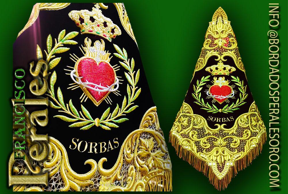 Banderín bordado para la banda de CCTT Sagrado Corazón de Sorbas en Almería.