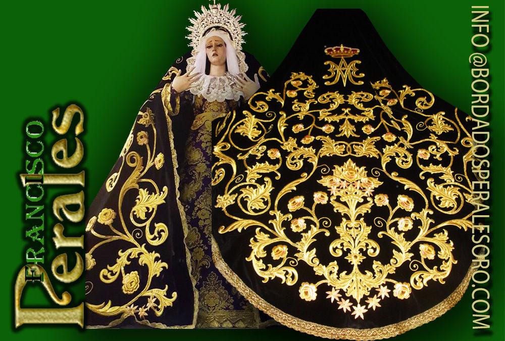 Manto bordado para María Santísima de la Soledad de la Hermandad de Nuestro Maestro Jesús de Ajalvir en Madrid.