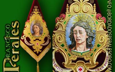 Banderín bordado para Grupo Joven de la Hermandad Gran Poder de Isla Cristina en Huelva.