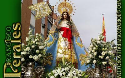 Manto bordado para Nuestra Señora de la Paz de Leganés en Madrid.
