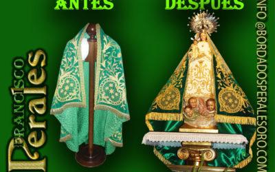 Manto bordado a mano, pasado de bordado del manto de la Hermandad de Nuestra Señora de Alarilla, patrona de Fuentidueña de Tajo en Madrid.