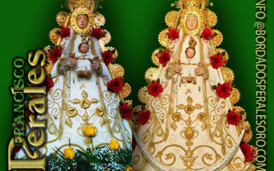Manto bordado para la imagen de la Virgen del Rocío de la Casa de Andalucía de Getafe en Madrid.