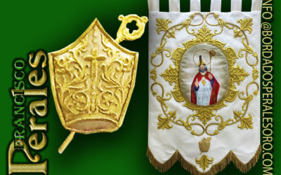 Estandarte bordado para la imagen de San Blas de la provincia de Valencia.