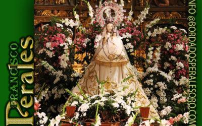 Manto bordado  para la Virgen de los Parrales Patrona de Baños de Rio Tibia en Logroño.