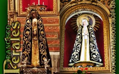 Manto bordado para la Hermandad de Nuestra Señora de la Soledad y Desamparo de Madrid.