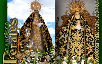 Manto bordado para la Hermandad de la Virgen de la Soledad de Marchamalo en Guadalajara.