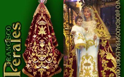Manto bordado para Nuestra Señora del Rosario de Navianos de la Vega en León, patrona de la localidad.