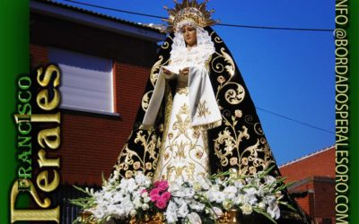 Manto bordado para Nuestra Señora de la Soledad de la Cofradía de la Sangre de Novés en Toledo.