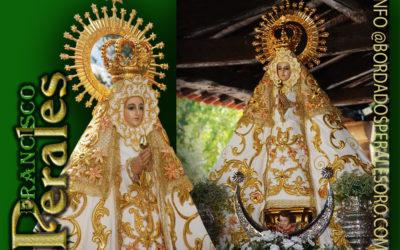 Manto bordado para Nuestra Señora de la Blanca, Patrona de Pasarón de la Vera en Cáceres.