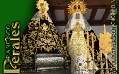 Manto bordado  para la Hermandad de Nuestra Señora de la Soledad de Pozuelo de Calatrava en Ciudad Real.