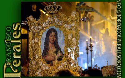 Simpecado bordado para la Hermandad de Gloria de la Inmaculada Concepción, Patrona de La Línea de la Concepción, en Cádiz.
