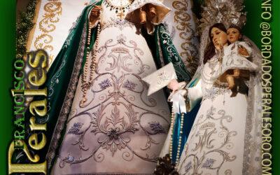 Saya bordada para la Hermandad de Nuestra Señora del Rosario de Torrejón de Ardoz en Madrid.