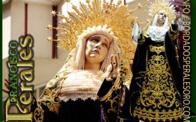 Saya bordada para Nuestra Señora del Calvario de La Hermandad del Santísimo Cristo del Perdón y de las Aguas en Ciudad Real.