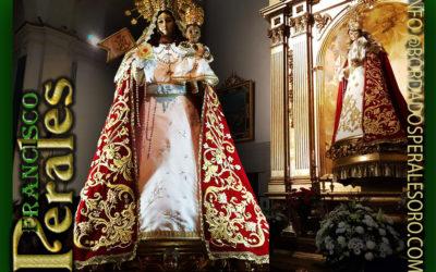 Manto bordado para Nuestra Señora del Rosario, Patrona de Torrejón de Ardoz en Madrid.