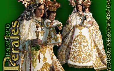 Manto bordado realizado para la Hermandad de Nuestra Señora de las Viñas de Tomelloso en Ciudad.