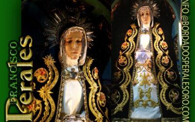 Manto bordado para Nuestra Señora la Virgen de la Soledad de Villar del Olmo en Madrid.