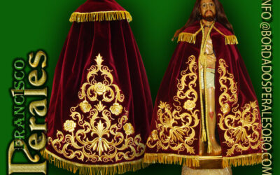 Capa bordada para imagen particular una réplica del Cristo de la Misericordia de Herencia.