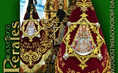 Banderín bordado para la Hermandad de la Santísima Virgen del Rocío de Albacete.