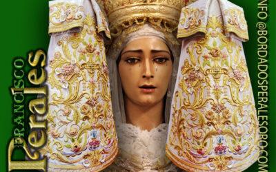 Saya Bordada para María Santísima de la Encarnación de la Hermandad del Amor de Córdoba.